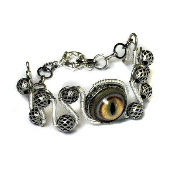 Steampunk Jewelry - Bracelet - Taxidermy glass eye - RESERVED