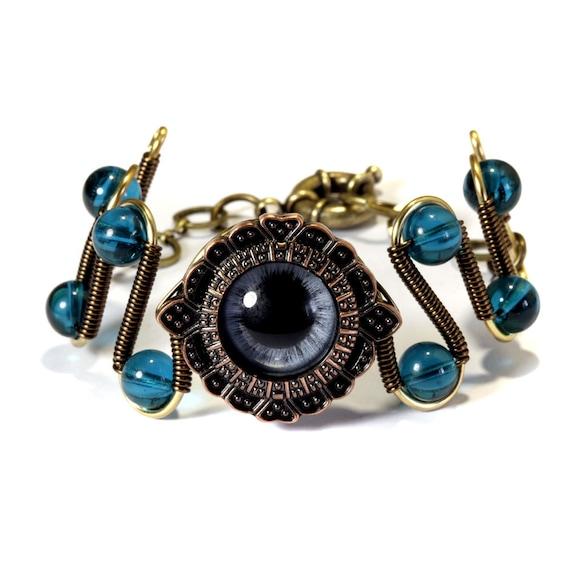 Steampunk Jewelry - Blue Beholder Eye Bracelet