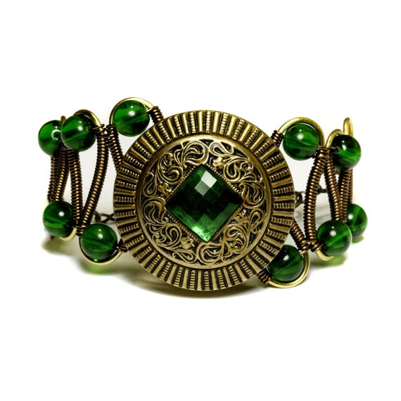 Bracelet - Victorian Era Antique button with green square glass jewel Circa 1900s