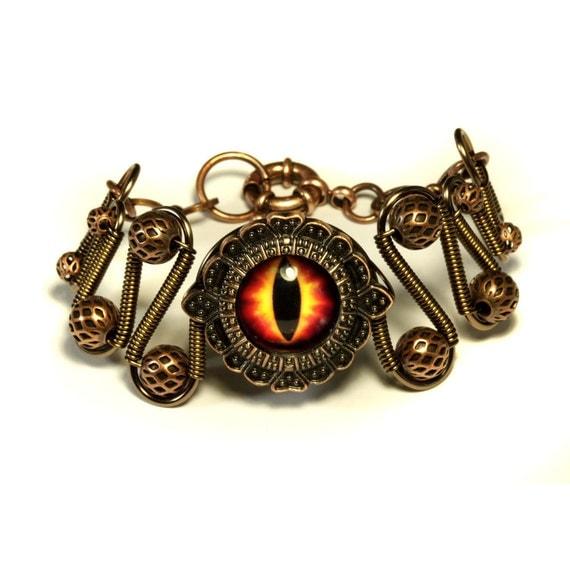 Steampunk Jewelry - Fire Dragon Eye Bracelet