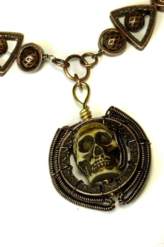 Steampunk Necklace -  Skull