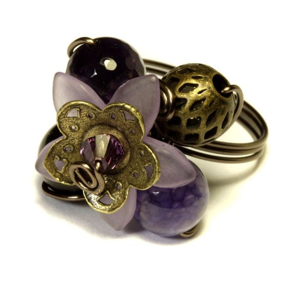 Purple Copper Flower ring (Custom size available - see description)