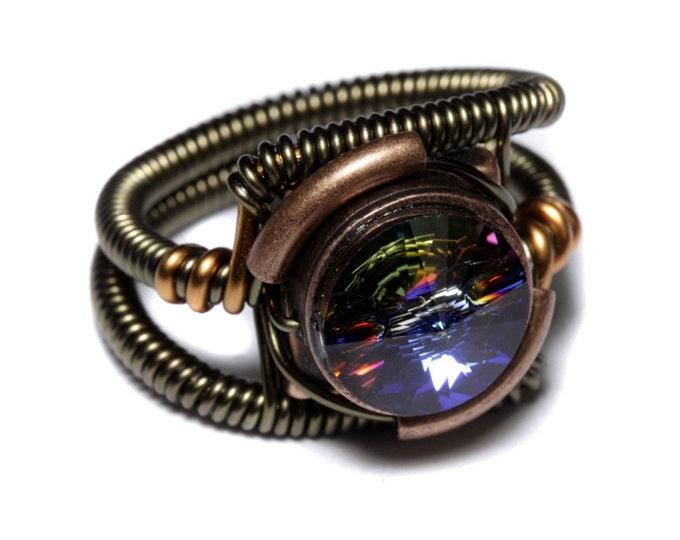 Steampunk Jewelry - RING - Meridian Blue Swarovski Crystal