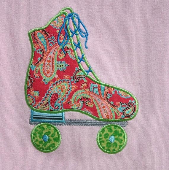 Roller Skate Applique Tee Shirt T Shirt