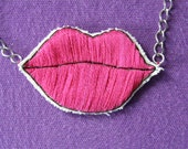 Pink Pop Art Lips Necklace