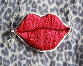 Red Pop Art Lips Necklace