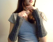 Heather Grey Fingerless Gloves
