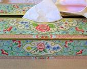Daher Jadeite Tin Tissue Holder Vintage with Pink Roses