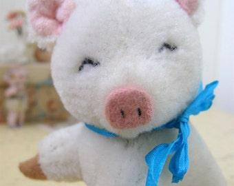 Vintage Mohair Pig Stuffed Animal