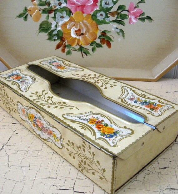 Tin Tissue Holder Vintage Cream and Gold Tissue Holder with Roses