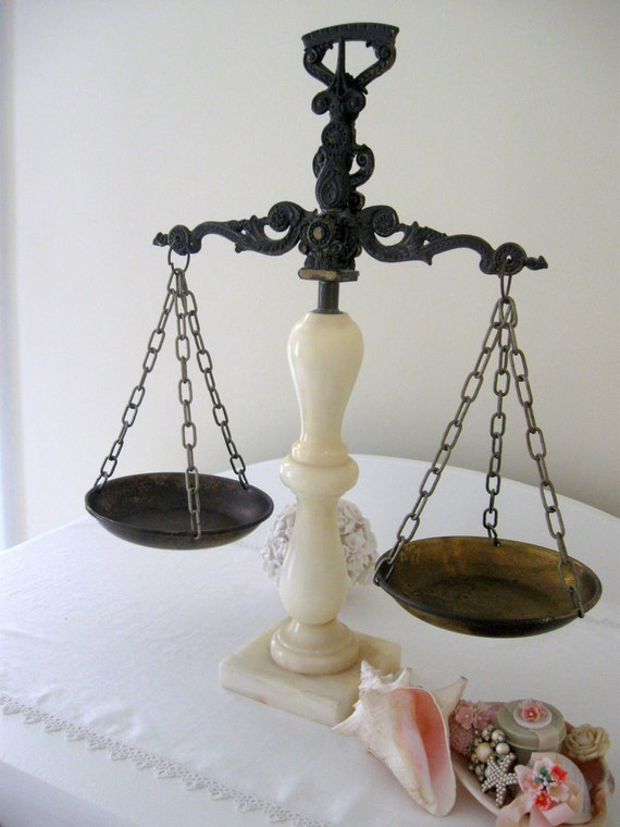 Beautiful Alabaster and Brass Vintage Decorative Scales