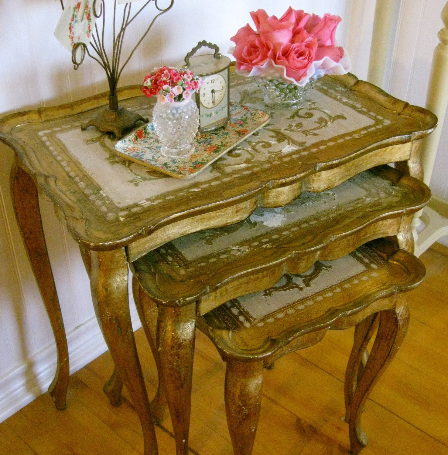 Antique italian florentine nesting tables set painted paris