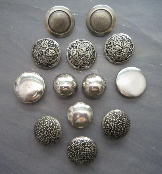 Vintage Metal Buttons - 13 Silvertone
