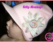 Pink Visor Beanie Cap with Monkey Flower Clip on RESERVED 4 SgtRoysWife