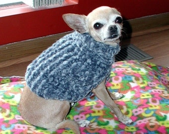 Immediate Download PDF Knitting Pattern for the Easy Chenille Dog Sweater