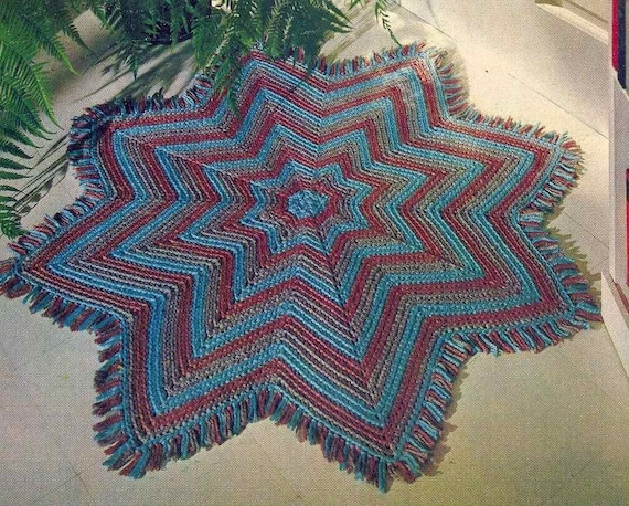 Pdf Crochet Pattern 8 Pointed Star For Rug Blanket Throw