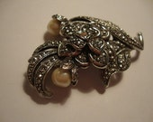 Vintage KJL for AVON Pearl, Marcasite and Silver Tone Flower Brooch