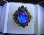 Vintage 1950's Blue Glass Stone and Gold Tone Cocktail Ring