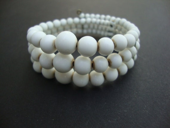 Vintage White Glass Bead Wrap Bracelet