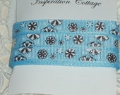 Blue Snowflake Ribbon with Silver Accents 3/8