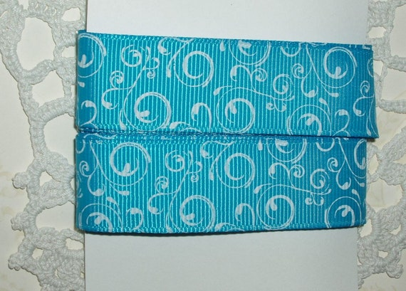 Bright Blue Grosgrain Ribbon with White Swirls 2 yds