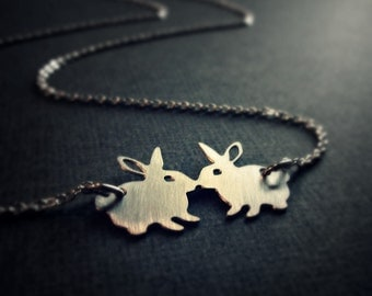 Silver rabbit necklace - bunny jewelry - kissing bunnies - dainty jewelry