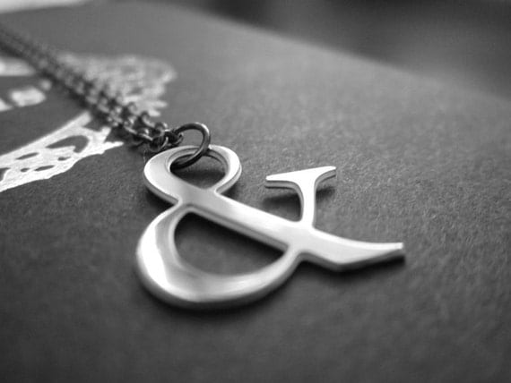 Ampersand Necklace Silver Tone Polished  Stainless Steel Typography Necklace