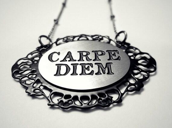 carpe diem necklace carpe noctem necklace reversible