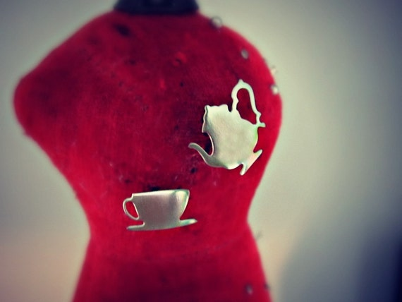 Tea earrings - silver tone stainless steel Alice in Wonderland jewelry - teacup and teapot stud earrings