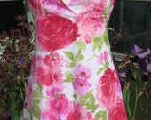 Rose Halter Dress - Watercolor Reds and Pinks - on sale
