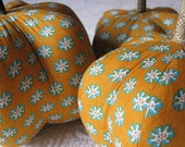 fabric pumpkin - batik golden yellow with turquoise rust print - large -  22 inch round p U m P k I n
