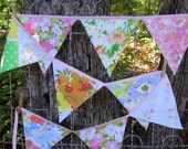 bunting - garland - banner - vintage linens // shades of pinks - soft yellow bias trim/tie