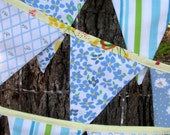 bunting - garland - banner - vintage linens // shades of blue - yellow bias trim-tie