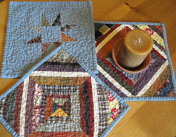 SPECIAL LISTING for Kathy Zorc.....kaleidoscope quilted - reversible candle mat/placemats....Ready to ship