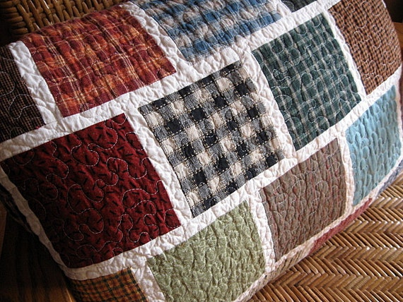 SPECIAL listing for barbarahunt4 - -BIG tile...little tile...quilted reversible pillow cover...echo no. 42