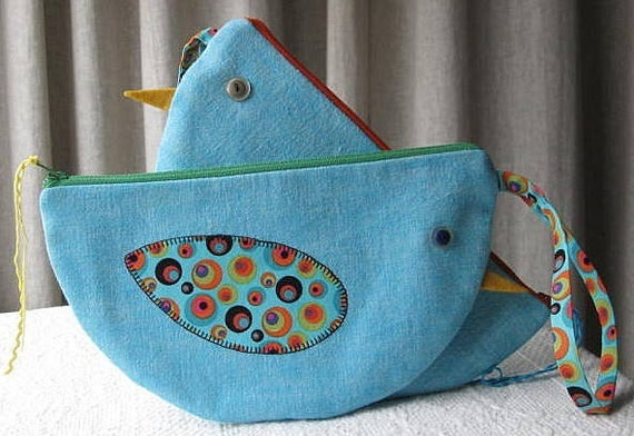 bluebird pouch \/ wristlet  FEATURED in Gift Guide - Environmentally Friendly