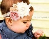 Champagne Supernova - Pink Cream Ivory Rosettes Headband - Lace Rhinestone Bling - Girls Newborns Baby Infant Adults - Photo Prop