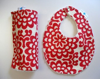 Cherry Wallflower Bib and Burp Cloth - OR Design Your Own - 64 Fabrics - Chenille and Pearl Snap