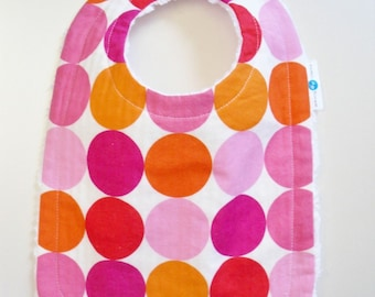 Infant - Toddler Bibbie - Juicy Summer Watermelon Dots with Chenille and Pearl Snap