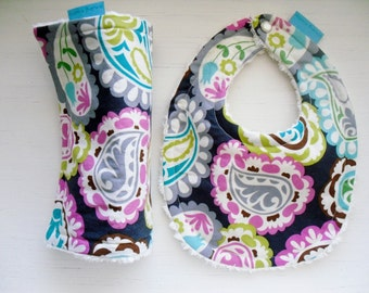 Bib and Burp Set in POPPIN PAISLEY with Chenille and Pearl Snap - or Design Your Own - 64 Fabric Choices