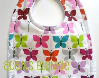 Baby to Toddler Bib - Canyon Flutter - OR CHOOSE Your own FABRIC  - 64 Choices- with Chenille and Pearl Snap