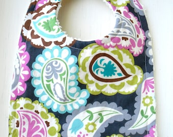 Poppin Paisley Bib - OR You CHOOSE FABRIC - 64 Fabric Choices - Chenille and Pearl Snap