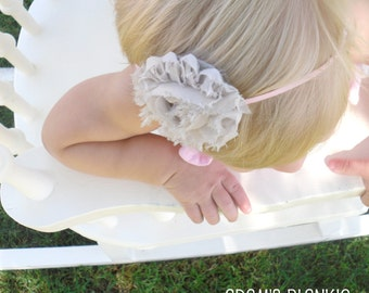 Shabby Chic Rosette Headband - Soft Taupe on Skinny Pink Headband
