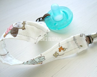 Any TWO SOOTHIE Avent Pacifer Clips - Spotted Owl - OR Design Your Own - 64 Fabric Choices - for Pacifier/Toy/Rattle/Binkie