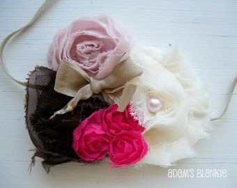 Raspberry Toffee Brownie - Shabby Chic Rosettes Tulle Pearls on Skinny Stretch Headband