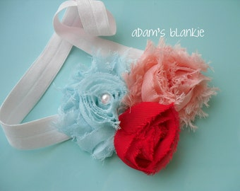 Wading Flamingo - Pink Aqua Red Shabby Chic Rosettes Headband - Pearl - Baby Infant Newborn Girls Adults