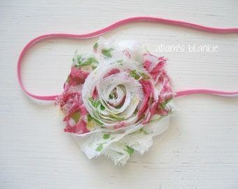 Vintage Chic - Shabby Rosette Headband - Hot Pink Green White - Skinny Headband - OR You Choose Colors