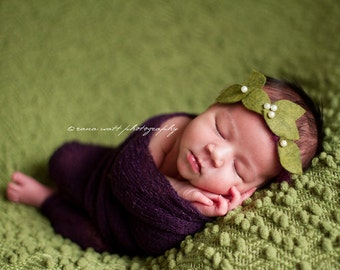Figs and Olives - Halo Crown Headband - Purple Green Pearls - Girls Newborns Baby Infant Adults - Photo Prop