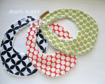 THE ORIGINAL Little Drooler Bibs - Any 3 - You Choose from 64 Fabrics - Chenille - Pearl Snap
