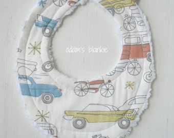 The ORIGINAL Little Drooler Bibs - Teething Baby -Spits Up - ORGANIC Vintage Cars - OR Design Your Own - 48 Fabrics